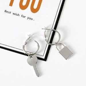Lock and key silver metal drop hoop earrings
